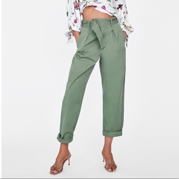 d6bf1cf7 Zara green high waisted belted pants. M_5bcbe283c61777e705ac5926